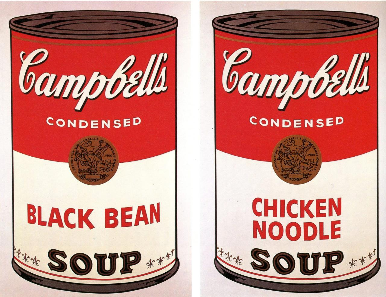Andy Warhol: Campbell's Soup I (Blatt 1, Black Bean/Blatt 2, Chicken Noodle), 1968, Siebdruck, je 88,9 x 58,4 cm, Dauerleihgabe der Stiftung Hamburger Kunstsammlungen, Copyright 2019 The Andy Warhol Foundation for the Visual Arts, Inc./ Licensed by Artists Rights Society (ARS), New York, Foto: Elke Walford