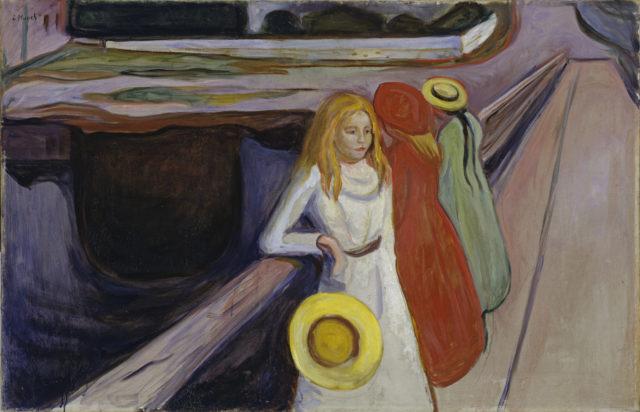 Bild von Edvard Munch in der Hamburger Kunsthalle: Mädchen auf der Brücke. Copyright Elke Walford