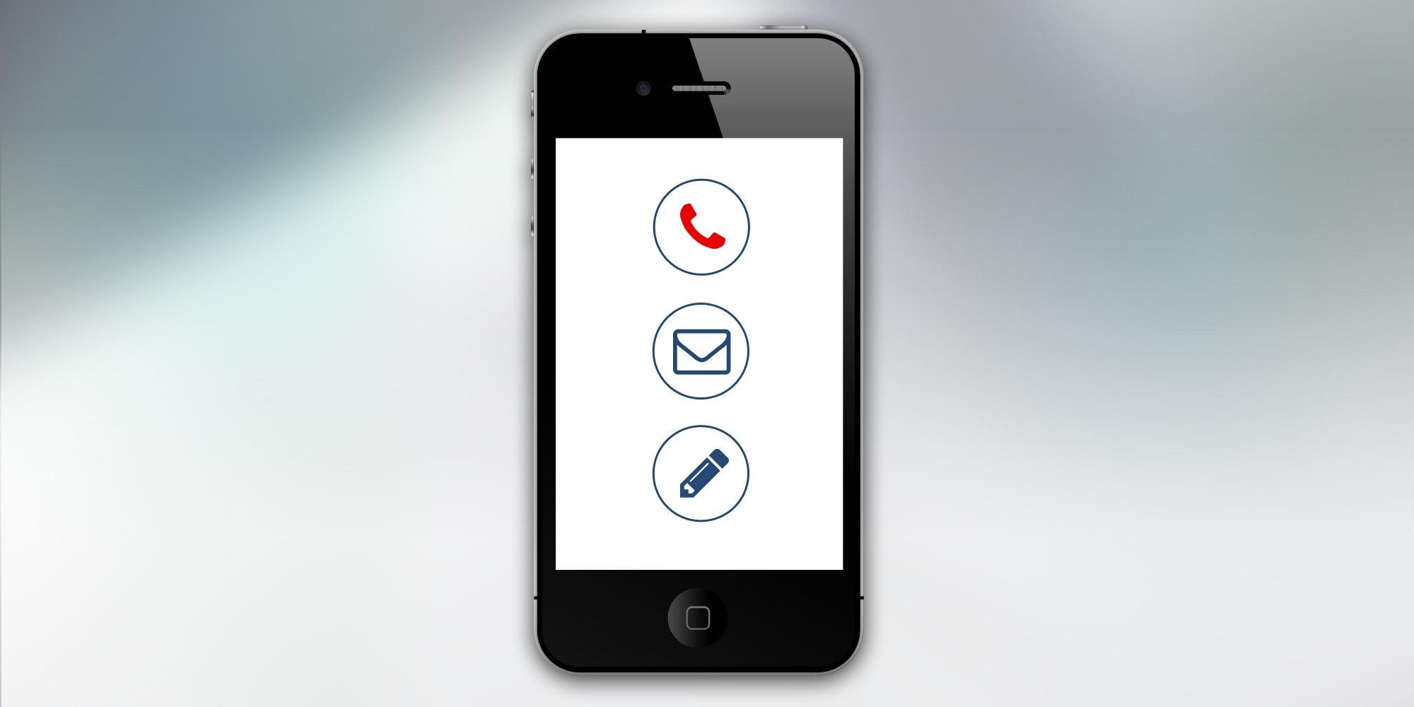 Smartphone mit den Symbolen für Telefonie, E-Mail und Nachrichten