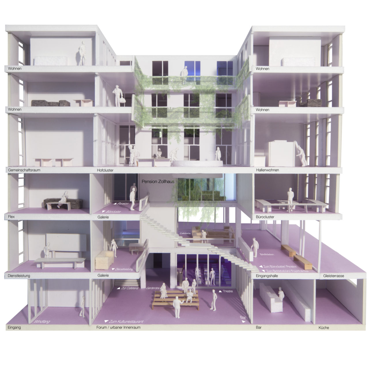 Modell des Projekts Zollhaus aus der Ausstellung im Museum für Kunst und Gewerbe