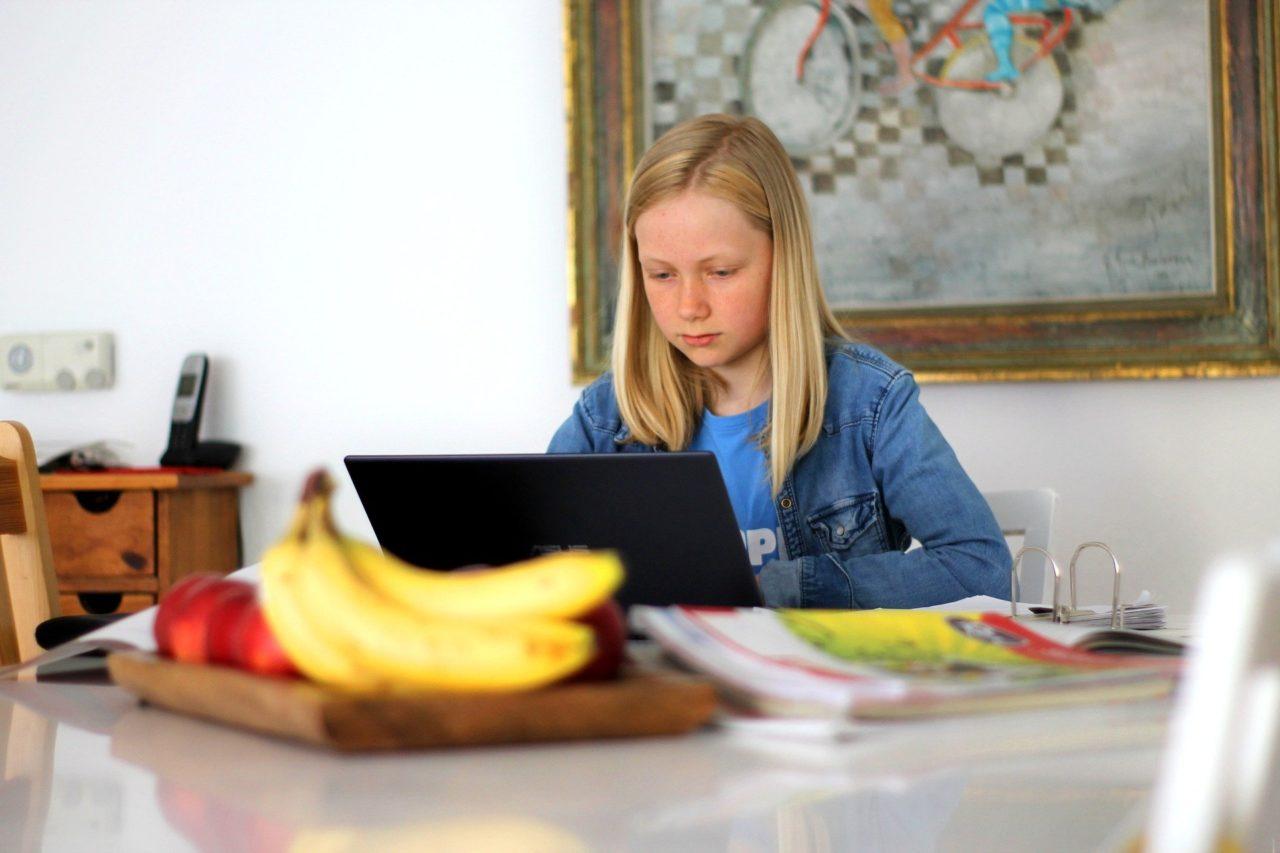 Ein Mädchen sitzt am Rechner