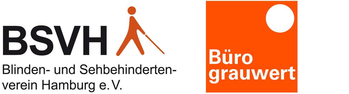 Logos vom Blinden- und Sehbehindertenverband Hamburg e.V. und Büro grauwert