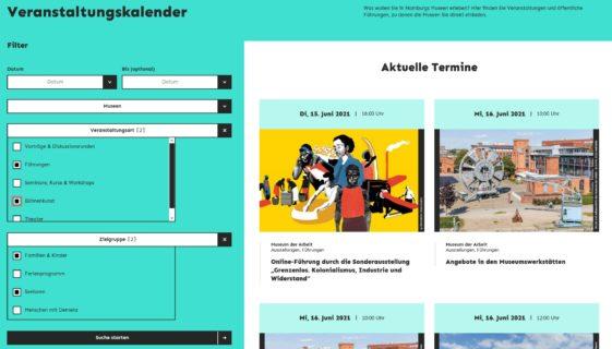 Bildschirmfoto vom Veranstaltungskalender des Museumsdienst Hamburg